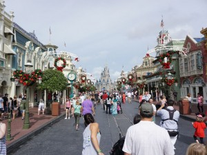 Magic Kingdom decorated for Christmas